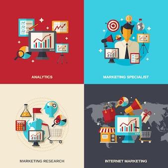 ícones planas de marketing