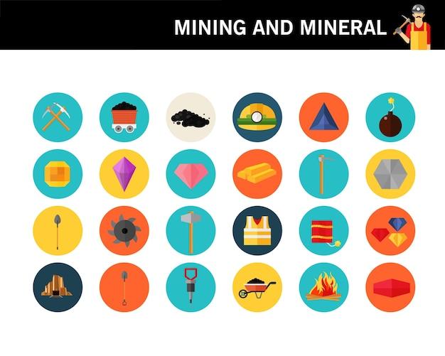 Ícones planas de mineração e conceito mineral.