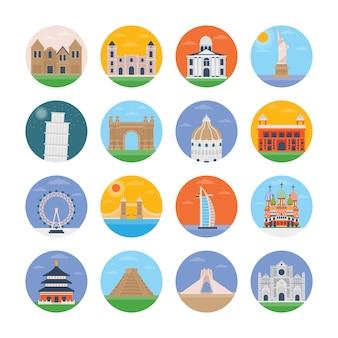 Ícones planas de monumentos do mundo
