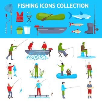 Ícones planas de pesca