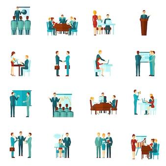 Ícones planas de treinamento de negócios