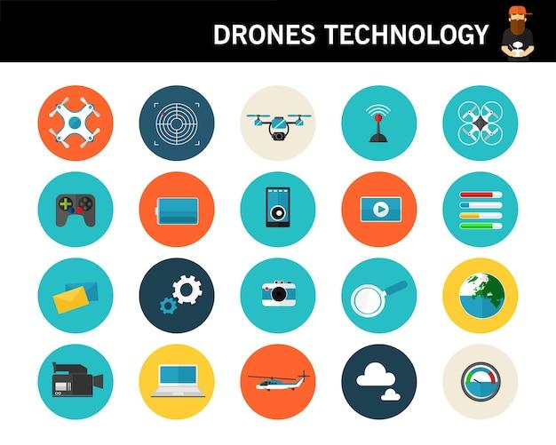 Ícones planas do conceito de tecnologia de drones