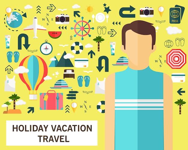 Ícones planas do conceito do curso das férias do feriado.