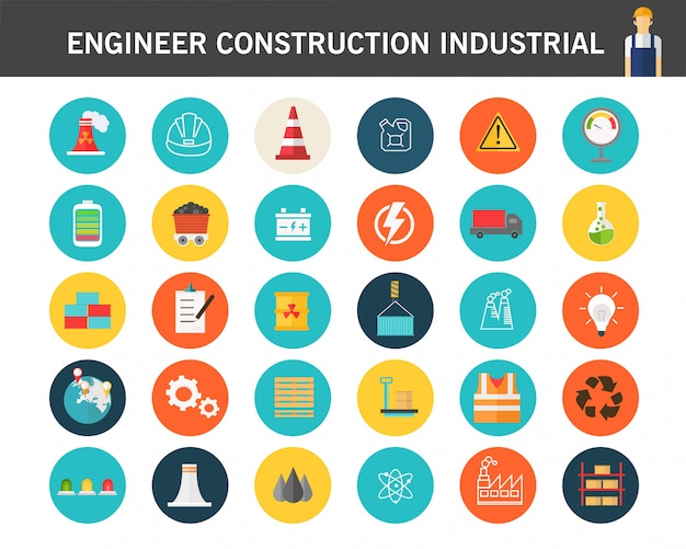 Ícones planas do conceito do industrail da construção do coordenador.