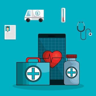 Ícones planas on-line de medicina