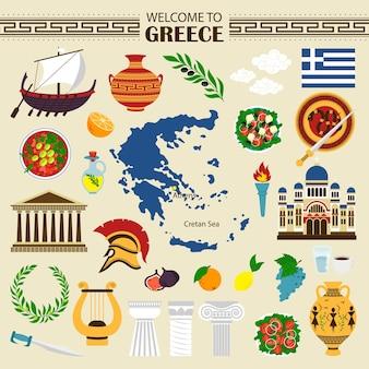 Ícones planos da grécia, bem-vindos à coleção de viagens da grécia