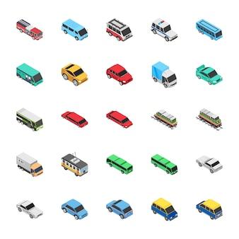 Ícones planos de automóvel
