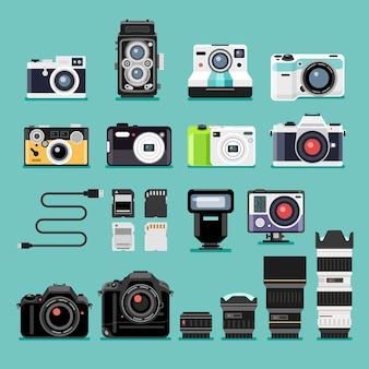 Ícones planos de câmera