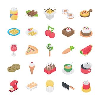Ícones planos de comida