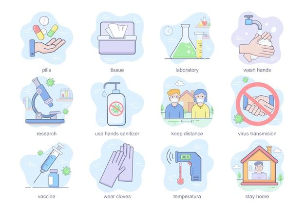 Ícones planos de conceito de prevenção de coronavirus conjunto pacote de pílulas, lavagem de laboratório, mãos, manter distância va ...