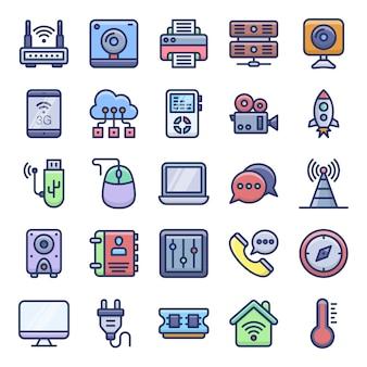 Ícones planos de dispositivos eletrônicos