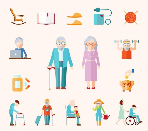 Ícones planos de estilo de vida senior