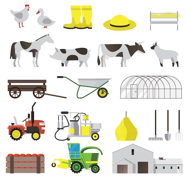 Ícones planos de fazenda com gado e ferramentas agrícolas isolados