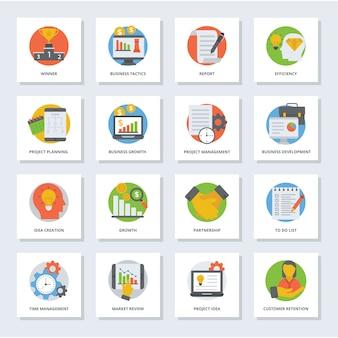 Ícones planos de gestão de negócios
