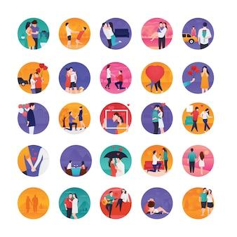 Ícones planos de histórias de amor