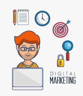 Ícones planos de marketing digital