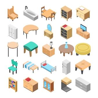 Ícones planos de móveis de madeira