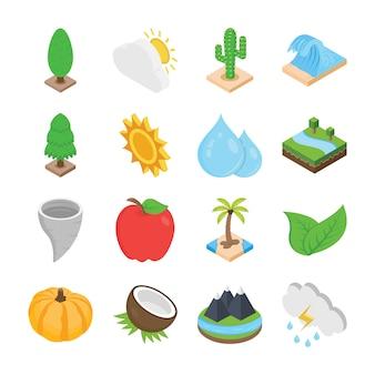 Ícones planos de natureza e plantas
