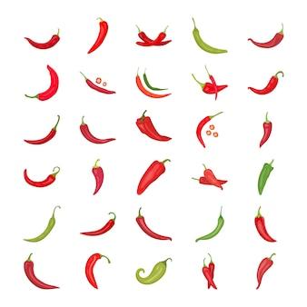 Ícones planos de pimenta