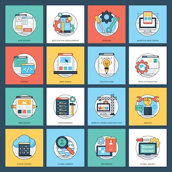 Ícones planos de serviços da web