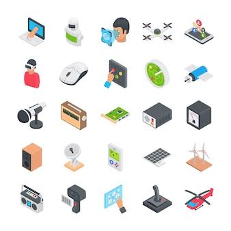 Ícones planos de tecnologia