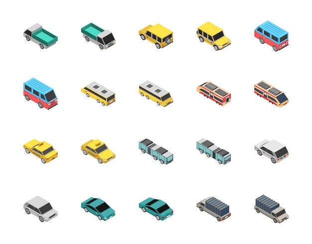 Ícones planos de transporte