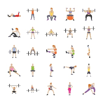 Ícones planos de treino físico