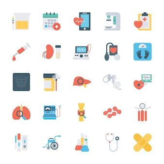 Ícones planos de verificação de saúde