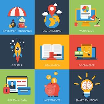 Ícones planos definem investimento de inicialização geo-direcionamento soluções inteligentes de dados pessoais de seguros
