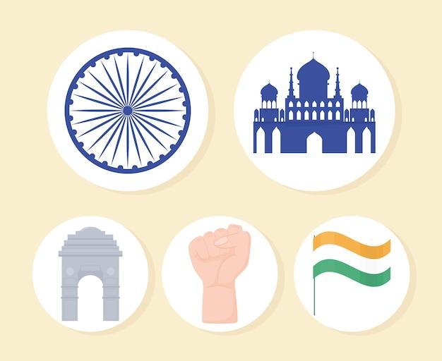 Ícones planos indianos