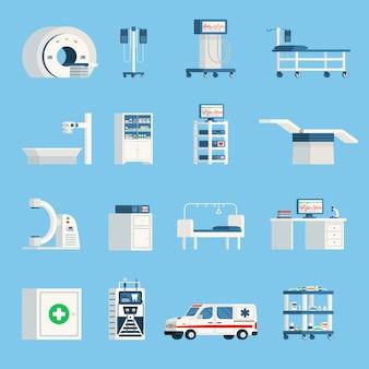 Ícones planos ortogonais do equipamento do hospital