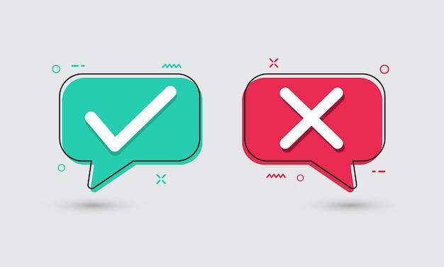 Ícones planos verdadeiros e falsos marca de seleção verde e vetor da cruz vermelha