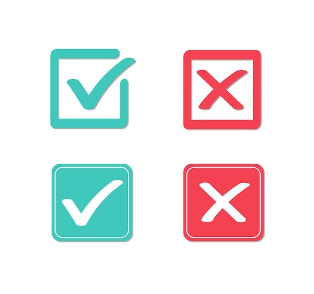 Ícones planos verdadeiros e falsos marca de verificação verde e cruz vermelha