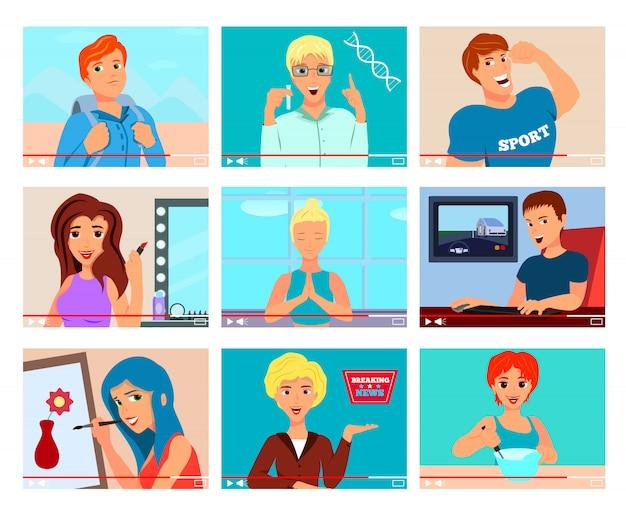 Ícones populares de blogueiros de vídeo definidos com temas de meditação de viagens de pintura de culinária