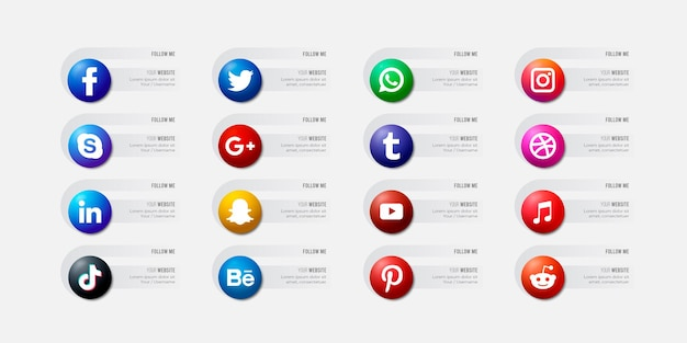 Ícones populares de sites sociais com banners configuram ícones gratuitos