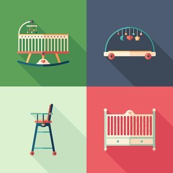 Ícones quadrados plana de móveis de bebê com longas sombras.