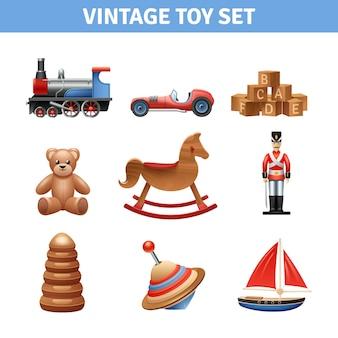 Ícones realistas de brinquedo vintage cravejado de ursinho de pelúcia navio e soldado