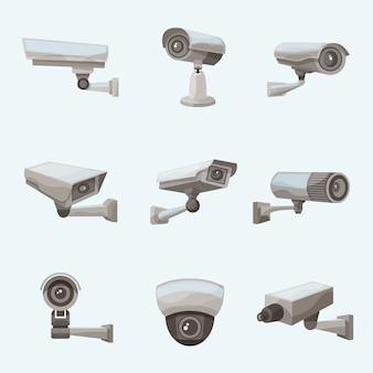 Ícones realistas de câmera de vigilância