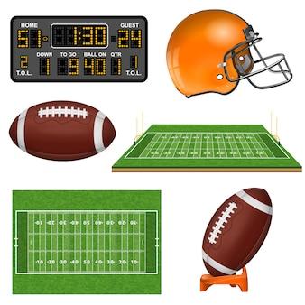 Ícones realistas de futebol americano
