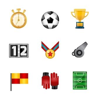 Ícones realistas de futebol