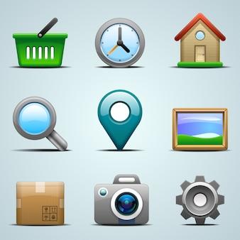 Ícones realistas para aplicativos móveis ou web