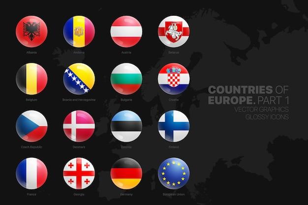 Ícones redondos brilhantes das bandeiras dos países europeus definidos isolados no preto