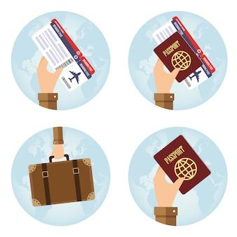 Ícones redondos com a mão segurando elementos para viagens