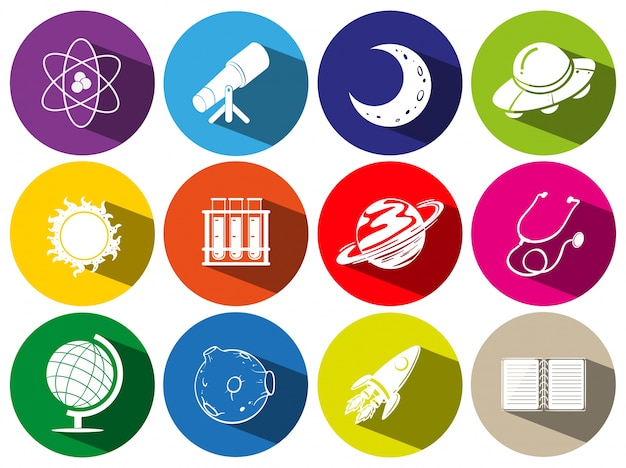 Ícones redondos com símbolos de ficção