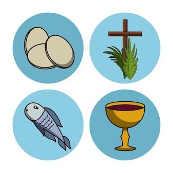 Ícones redondos da semana santa