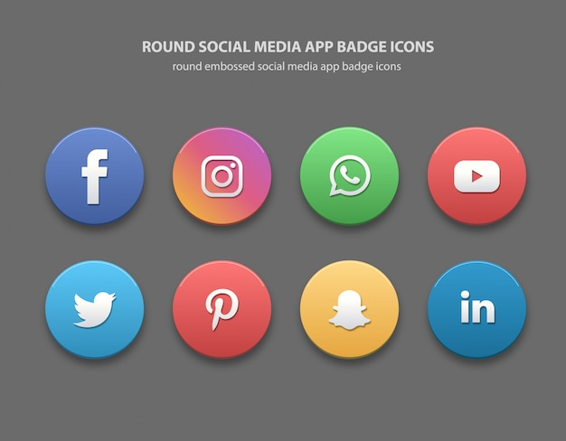 Ícones redondos de emblemas de aplicativos de mídia social
