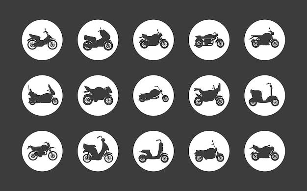 Ícones redondos de motocicletas