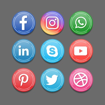 Ícones redondos do emblema do aplicativo de mídia social em 3d
