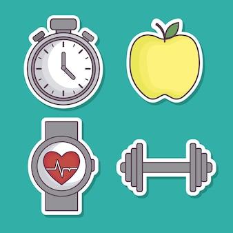 Ícones relacionados com estilo de vida saudável e fitness