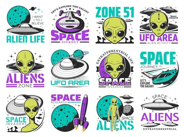 Ícones retrô de alienígenas, área de ovni e ônibus espaciais. canto extraterrestre com pele verde e olhos enormes.